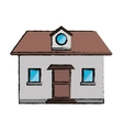 drawing front view home window loft vector image vector image