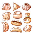 dumpling traditional chinese food hand drawn set vector image vector image