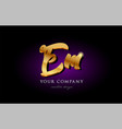 em e m 3d gold golden alphabet letter metal logo vector image vector image