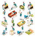 fathers on maternity leave isometric set vector image