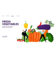 fresh vegetables landing page people vector image vector image
