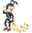 funny black ant sweeping leaves cartoon vector image vector image