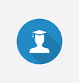 graduate student Flat Blue Simple Icon with long vector image vector image