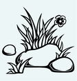 Grass in stones vector image vector image