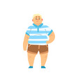 handsome overweight man wearing shorts and striped vector image vector image