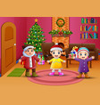 happy kids celebration a christmas in the living r vector image vector image