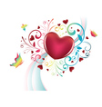 Heart with Floral and Butterflies vector image