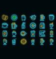 latte icons set neon vector image vector image