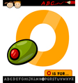 letter o with olive cartoon vector image vector image