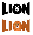 Lion logo Wild hairy beast and letters Text and vector image vector image