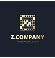 metal style geometric Z letter logo vector image