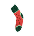 modern textile sock funny watermelon fruit print vector image vector image