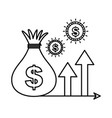 money bag coins currency and arrow growth vector image vector image