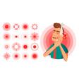 pain symbol set round medical design vector image vector image