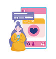 people and smartphone young woman with mobile sms vector image vector image