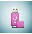 Pink USB flash drive icon isolated on blue vector image