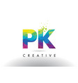 pk p k colorful letter origami triangles design vector image