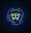 red and blue colorful batterfly glowing neon sign vector image