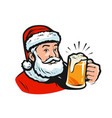santa claus with a beer christmas vector image vector image