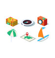 set isometric travel objects yacht vector image