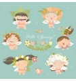 Set of cute spring angels vector image vector image