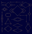 set of golden linear graphic stylized frames vector image vector image