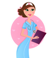 smiling sexy brown hair nurse vector image vector image