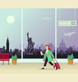 the girl with suitcase at airport against vector image vector image