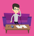 unhappy asian man accounting home bills
