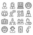 users and people icons set on white background vector image vector image