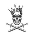 vintage prince skull in crown vector image vector image