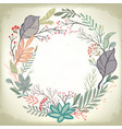 vintage romantic background with floral frame vector image vector image