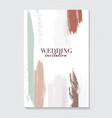 wedding template in green brown nude colors with vector image