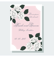 White roses wedding invitation vector image