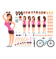young fitness female sportswoman creation vector image