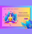 young woman meditates vector image