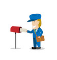 postman send a letter to mailbox vector image