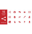 15 interface icons vector image vector image