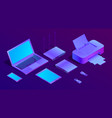 3d isometric ultraviolet laptop printer vector image vector image