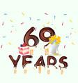 69th years happy birthday card vector image vector image