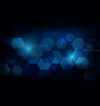 abstract dark blue geometric hexagon futuristic vector image vector image
