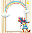 An empty surface with a clown holding balloons vector image vector image