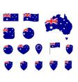 australia flag icons set national flag vector image