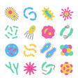bacteria microbe virus colorful icon set vector image