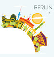 berlin skyline with color buildings blue sky and vector image vector image