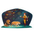 Big top circus arena tiger and lion animals tamer
