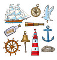 cartoon nautical elements vector image vector image