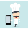 Chef show blank mobile device for use in vector image