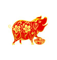 chinese contemporary modern art red and golden vector image