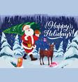 christmas and new year holidays and santa vector image vector image